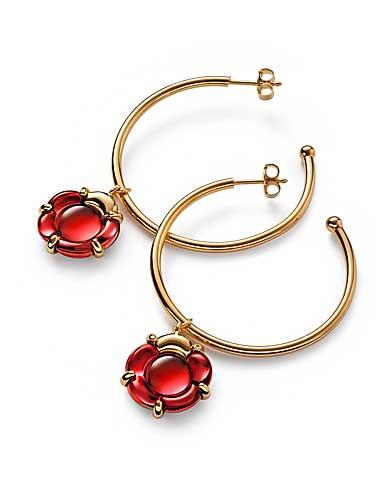 Baccarat B Flower Hoop Earrings, Red Mirror and Vermeil