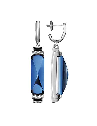 Baccarat Louxor Earrings, Silver and Blue Mordore
