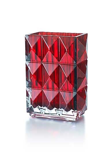 Baccarat Louxor Diamond SurfaceVase, Red
