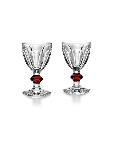 Baccarat Harcourt 1841 with Red Knob Goblet, Pair