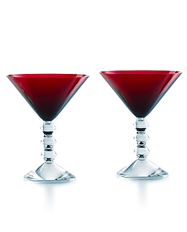 Baccarat Vega Martini Red Glasses, Pair