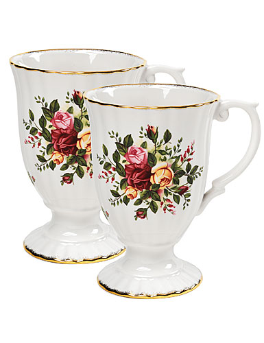 Royal Doulton China Royal Albert China Old Country Roses Fluted Mugs, Pair