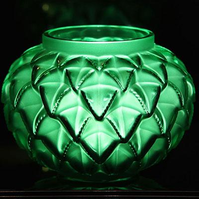 "Lalique Languedoc 8 7/16"" Vase, Green"