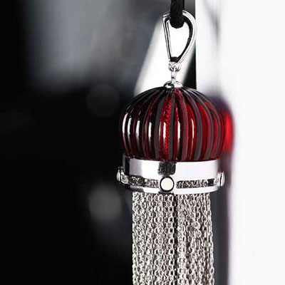 Lalique Vibrante Tassel Pendant Necklace, Red