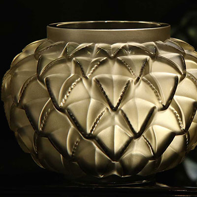 "Lalique Languedoc 8 7/16"" Vase, Bronze"