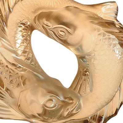 Lalique Double Fish Sculpture, Gold Luster