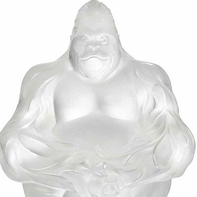 Lalique Gorilla Sculpture, Clear