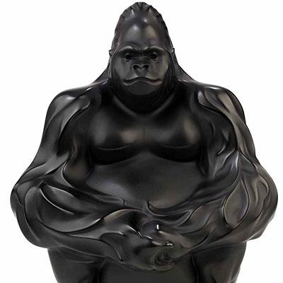 Lalique Gorilla Sculpture, Black