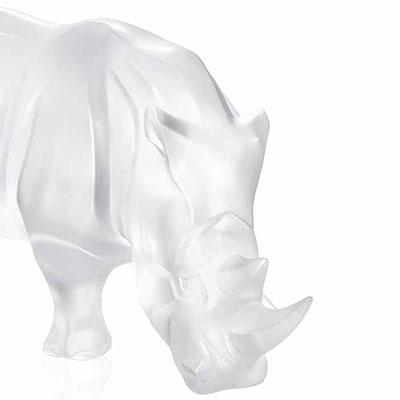 Lalique Rhinoceros Sculpture, Clear