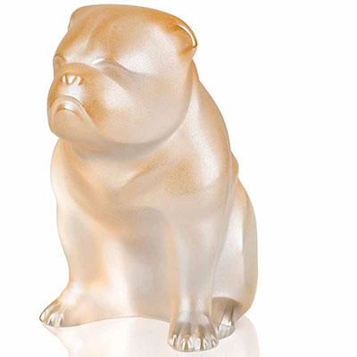 Lalique Bulldog Sculpture, Gold Luster