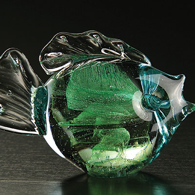 Cashs Art Glass Forty Shades of Green, Fish Paperweight