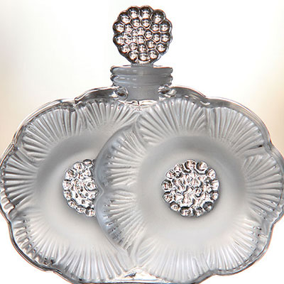 Lalique Perfume Bottle Two Flowers