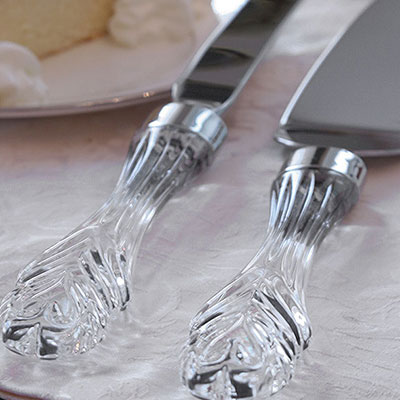 Waterford Cake Knife and Server Crystal and Stainless Set