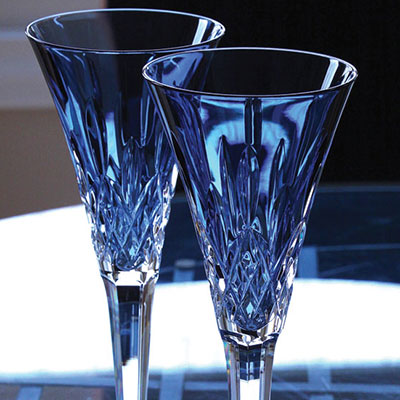 Waterford Lismore Jewels Sapphire Toasting Flutes, Pair