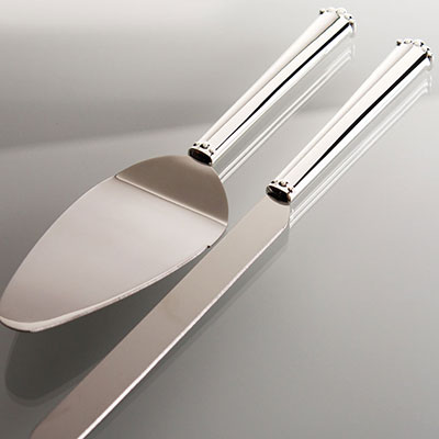 Waterford Flatware Lismore Bead Cake Server and Knife Stainless Set