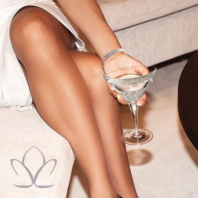 Cashs Crystal Cooper Martini Glasses, Pair