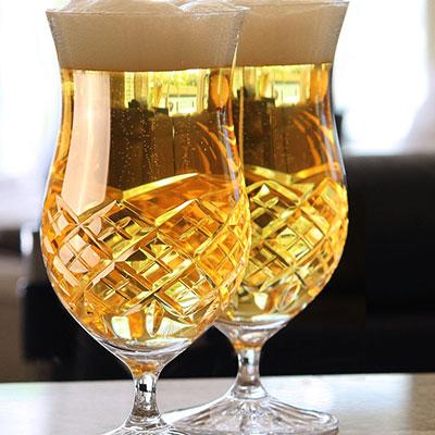 Cashs Crystal Brewers Ale Beer Glasses, Pair