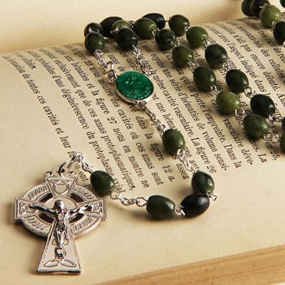 Cashs St. Patrick Connemara Marble Round Bead Rosary