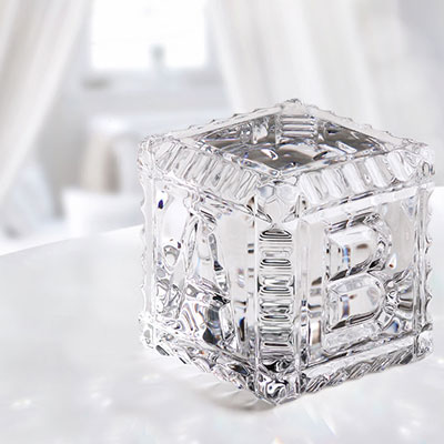 Cashs Crystal Baby Block Paperweight
