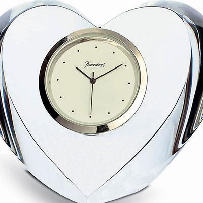 Baccarat Heart Clear Clock