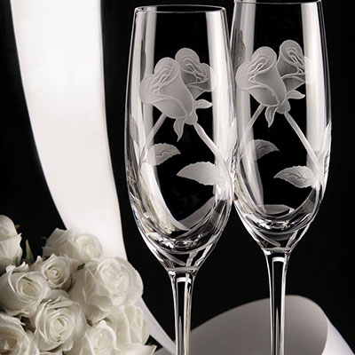 Cashs Crystal Art Collection Entwined Roses Flute Pair, Limited Edition