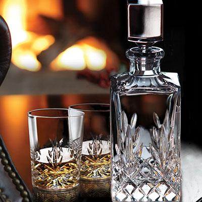 Cashs Crystal Annestown Single Malt Whiskey Tasting Set, Decanter, Pair of Whiskey Glasses