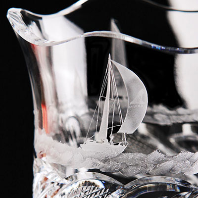 Cashs Crystal Art Collection Sailing Series Regatta Vase, Limited Edition