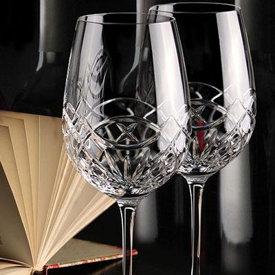 Cashs Crystal Celtic Ring Cabernet, Merlot Wine Glasses, Pair