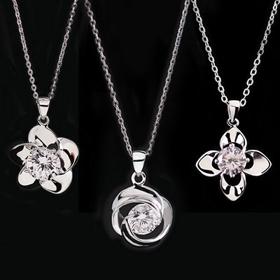Cashs Three Sisters, Sterling Silver Rose Necklace Set