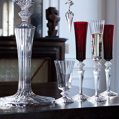 Baccarat Mille Nuits Flutissimo Flutes, Red, Pair