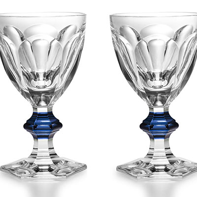 Baccarat Harcourt 1841 with Blue Knob Goblet, Pair