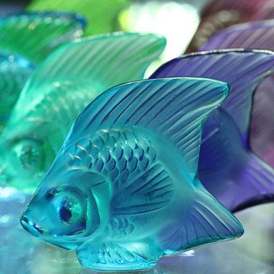 Lalique Pale Blue Fish Sculpture