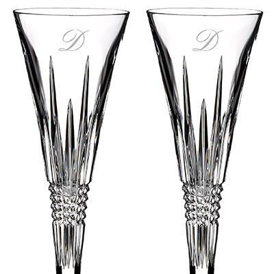 Waterford Lismore Diamond Toasting Flute Pair, Monogram Script D