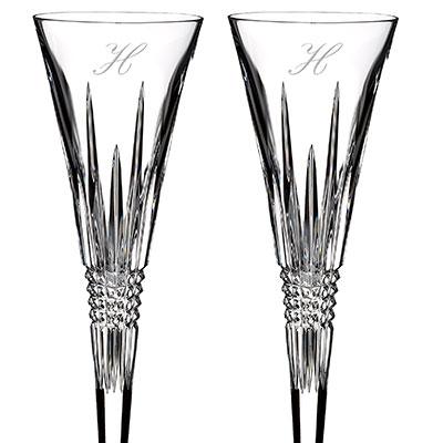 Waterford Lismore Diamond Toasting Flute Pair, Monogram Script H