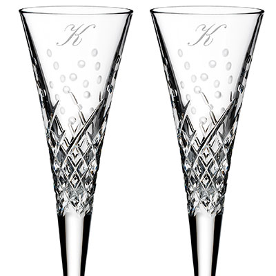 Waterford Wishes Happy Celebrations Flute Pair, Monogram Script K