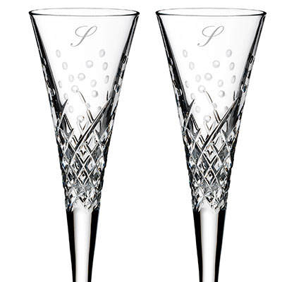 Waterford Wishes Happy Celebrations Flute Pair, Monogram Script S