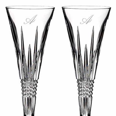 Waterford Lismore Diamond Toasting Flute Pair, Monogram Script A