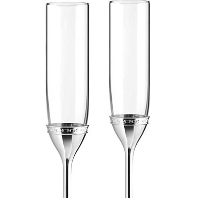 Vera Wang Wedgwood With Love Nouveau Toasting Flute Pair, Silver