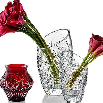 "Waterford Jeff Leatham Fleurology Slant Cleo 14"" Vase"