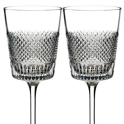 Waterford Diamond Line Wine Glass, Pair