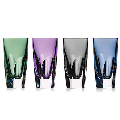 Waterford W Mixed Colors Shot Glasses, Set of Four