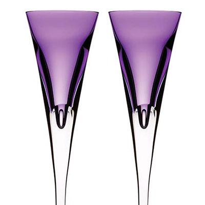 Waterford W Heather Toasting Flutes, Pair