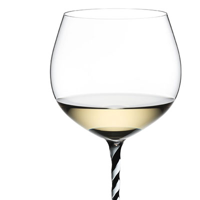 Riedel Fatto A Mano Oaked Chardonnay, Black and White Twist