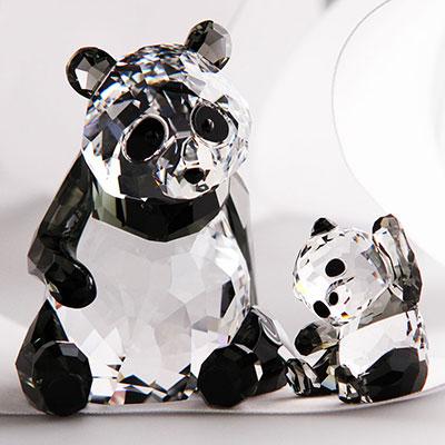Swarovski Panda Mother With Baby