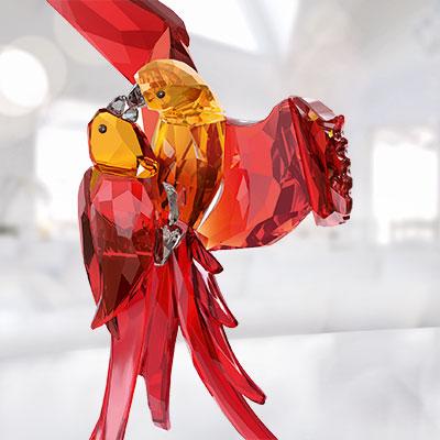 Swarovski Paradise Red Parrots Sculpture