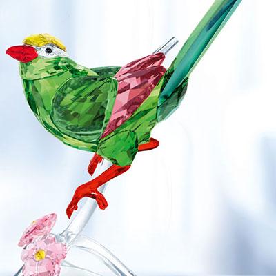Swarovski Paradise Green Magpie Sculpture