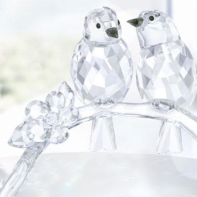 Swarovski White Eyes Birds, Pair