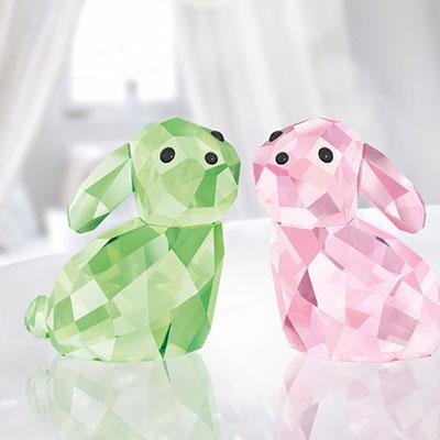 Swarovski Lovlots Bunny Rabbits In Love George and Georgina