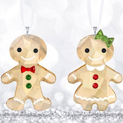 Swarovski Gingerbread Couple Ornament Set