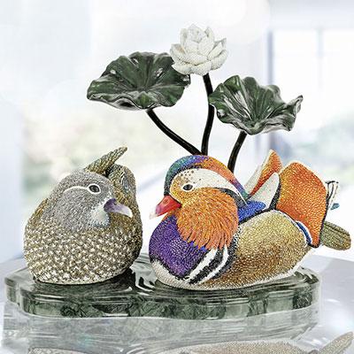 Swarovski Crystal Myriad Mandarin Duck Couple Sculpture